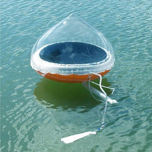 A cone-shaped floating solar still desalinates seawater.