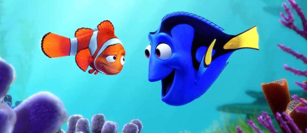 Cartoon of two fish -- one orange and white and one blue and yellow -- looking at each other surrounded by purple coral.