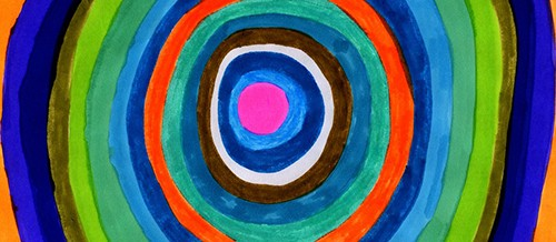 Concentric circles in bright and bold colors: shades of green, blue and red.